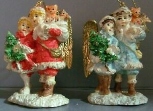 Christmas-60153-Ornament-Set-of-2-Victorian-Children-Angels-3-034-Hand-Painted