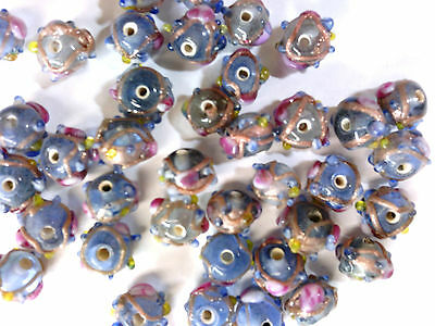 Vtg 49 PALE  BLUE WEDDING CAKE ORNATE GLASS BEADS 10mm #030510l last lot!