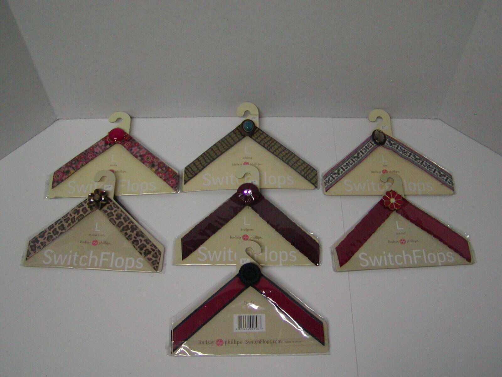 LOT OF 7 NEW LINDSAY PHILLIPS SIZE LARGE SWITCH FLOPS STRAPS