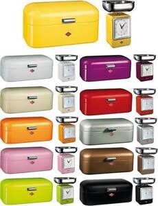 Wesco Bread Box Grandy Kitchen Scale With Clock Ebay