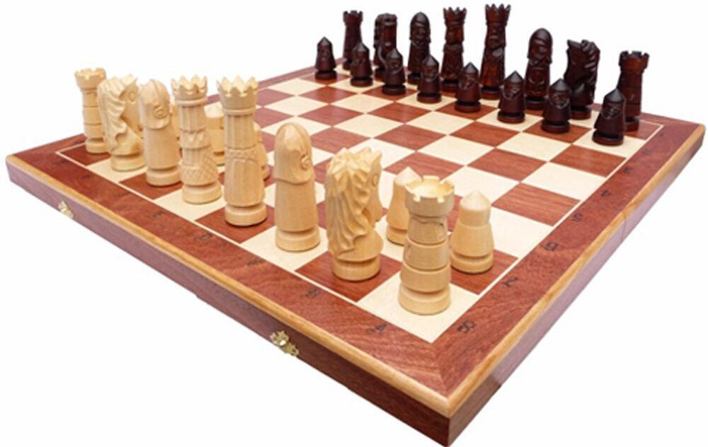 Schach Edles Schachspiel CASTLE LARGE Handgeschnitzt 60x60 cm KH 120 mm Holz (2)