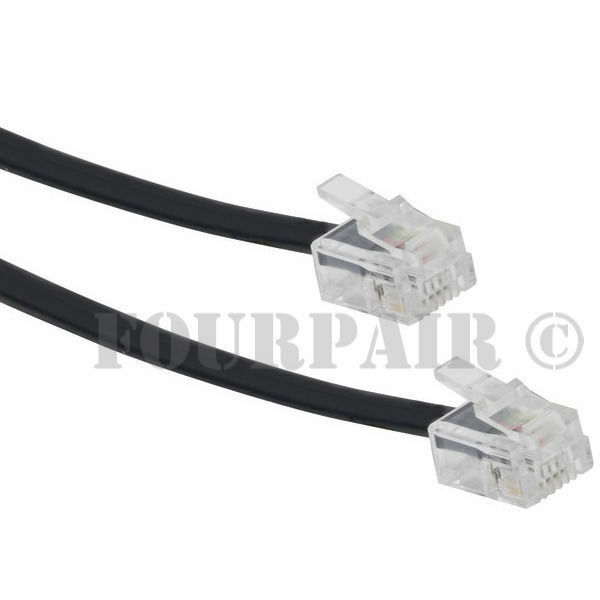 9ft Telephone Line Cord Cable Wire DSL Modem Fax Phone to Wall Black ...