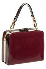 Banned Rockabilly 50s Shiny Varnished Box Handbag Retro Clasp Bag Bordeaux Red