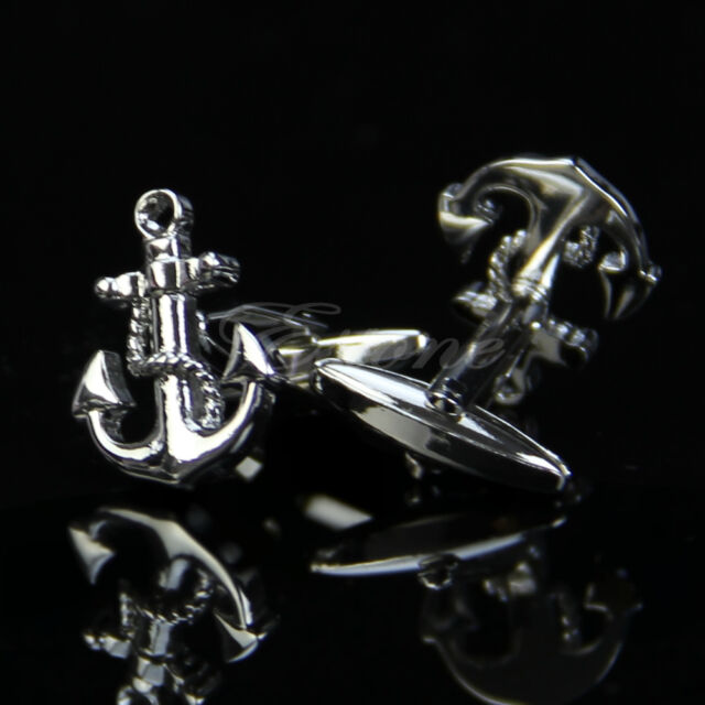 Vintage New Stainless Steel Silver Men's Wedding Gift Anchor Design Cufflinks