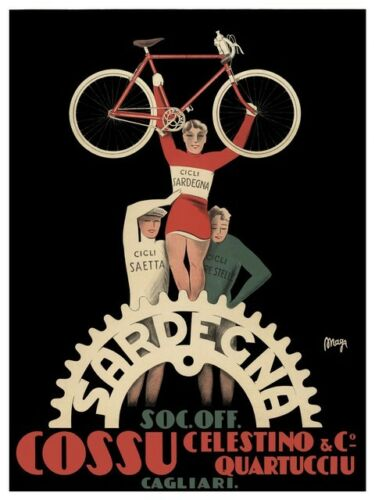 Old Cycling Advert Poster reproduction Cossu