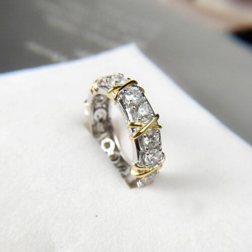 Women Lady Bridal Stainless Steel Gold Silver Plated Ring Jewelry Crystal