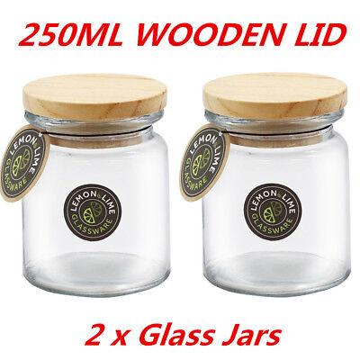 250ml Round Glass Jars Food Storage Jar Canister Container Wooden Lid Kitchen WM