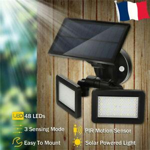 48-LEDs-Solaire-Spot-Lampe-Projecteur-Jardin-Exterieur-PIR-Capteur-de-mouvement