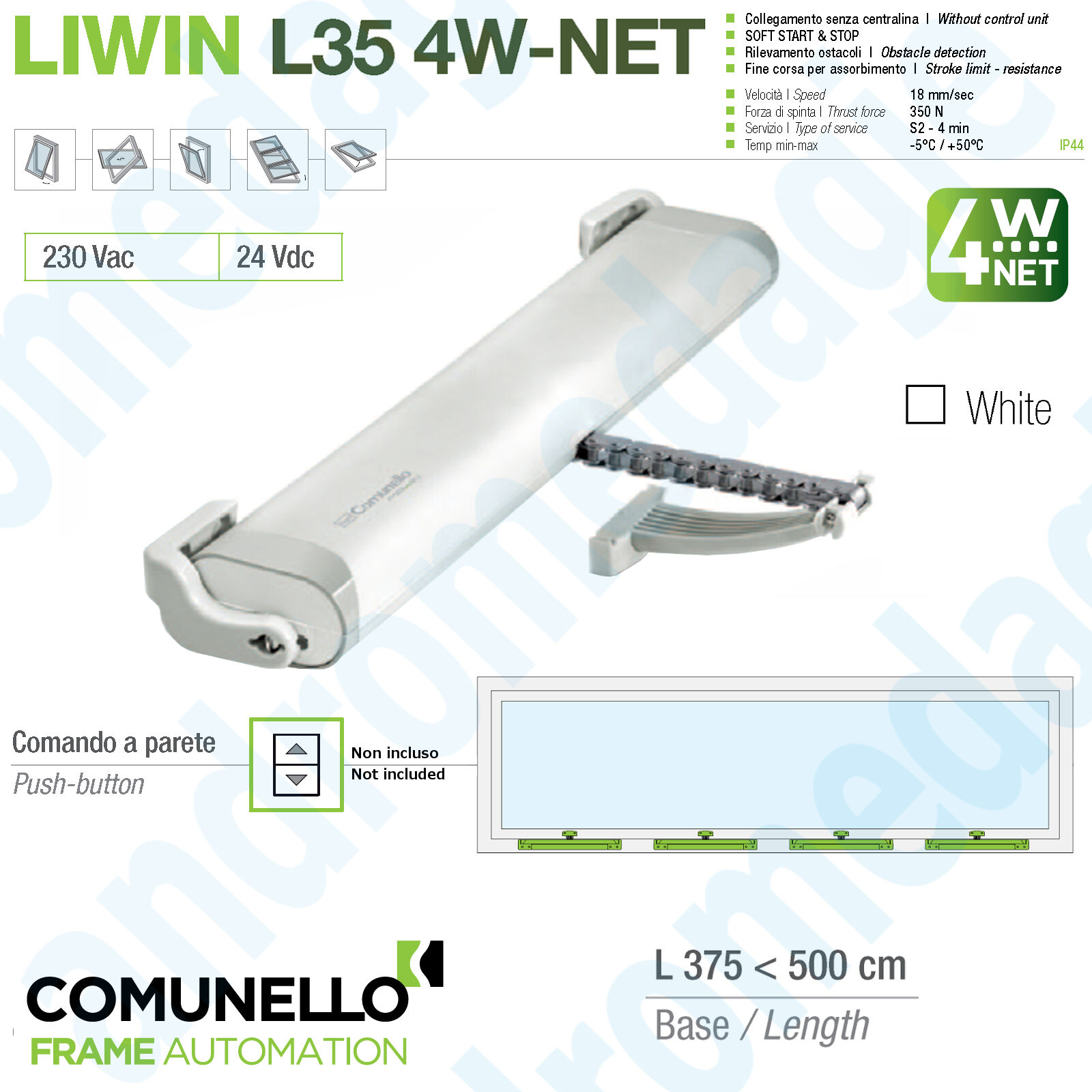 LIWIN L35 4W-NET 24V 350N WHITE Synchronized motors chain for windows