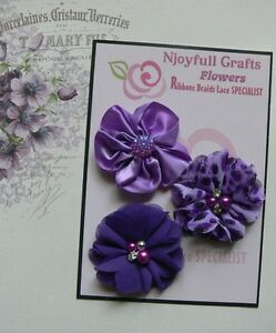 HANDMADE-3-Flower-Mix-LILAC-PURPLE-MIX-Organza-Satin-50-55mm-NjoyfullCrafts