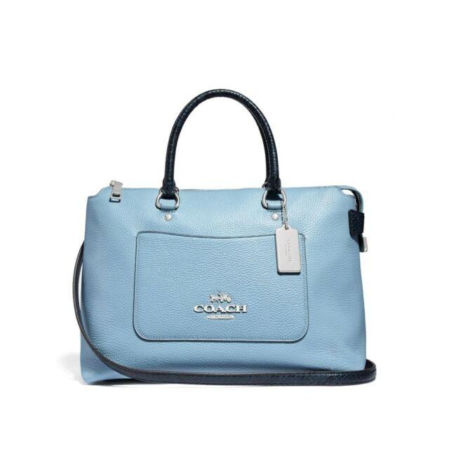 03ae5740 Coach Emma Satchel Crossbody Leather Bag Purse Blue Navy Silver F39604
