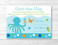 Blue Under The Sea Baby Shower guess How Many? Game Cards