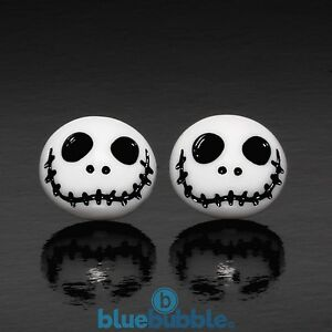 FUNKY-WHITE-JACK-15mm-EARRINGS-NIGHTMARE-KITSCH-EMO-XMAS-CUTE-SKELETON-SKULL