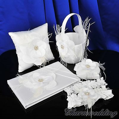 Feather Wedding Ring Pillow Basket Garter Guest Book & Pen Set Crystal Flower