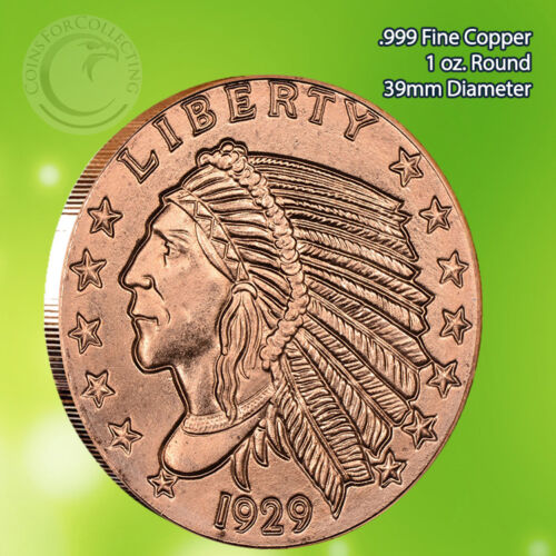"""/""""Incuse Indian/"""" 1 oz .999 Copper Round with an eagle back"""