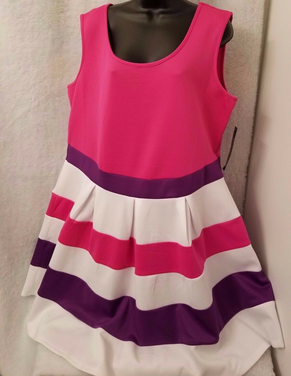 Karin Stevens NWT Womens Plus Pink Purple White Striped Sundress Dress Size 22W