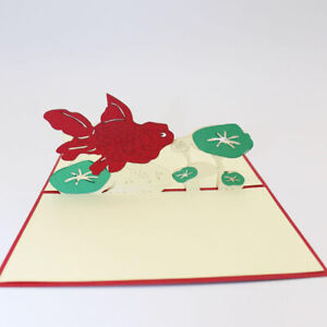 Creative-Craft-Card-3D-Paper-Cards-Personalized-Fish-and-Lotus-Wish-New-YearJian