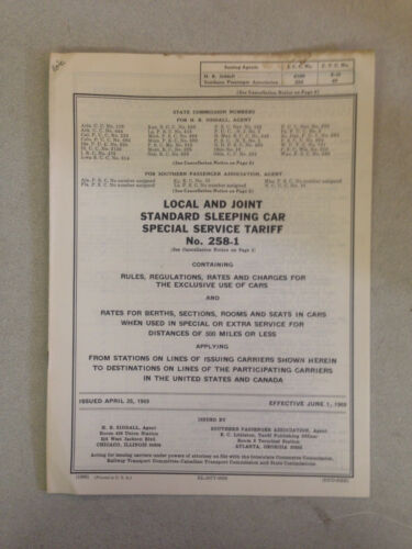 1969Local & Joint Standard Sleeping Car Special Service Railroad Tariff No.2581