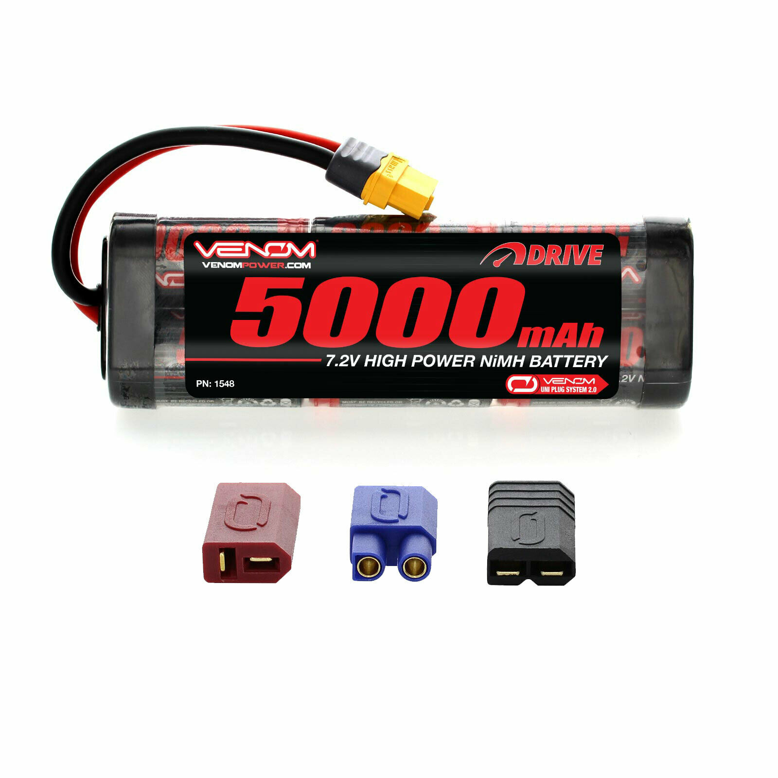 Venom 7.2V 5000mAh 6 Cell RC NiMH Battery with Deans EC3 Traxxas Tamiya UNI Plug