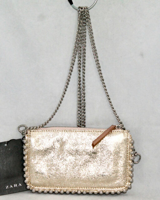 cute the cheapest new specials NWT ZARA 4162 Gold & Rose Gold Metallic Leather Mini Crossbody Wallet