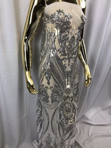 Power Mesh By The Yard 4 Way Stretch Embroidery Sequins Silver Sequins Fabric