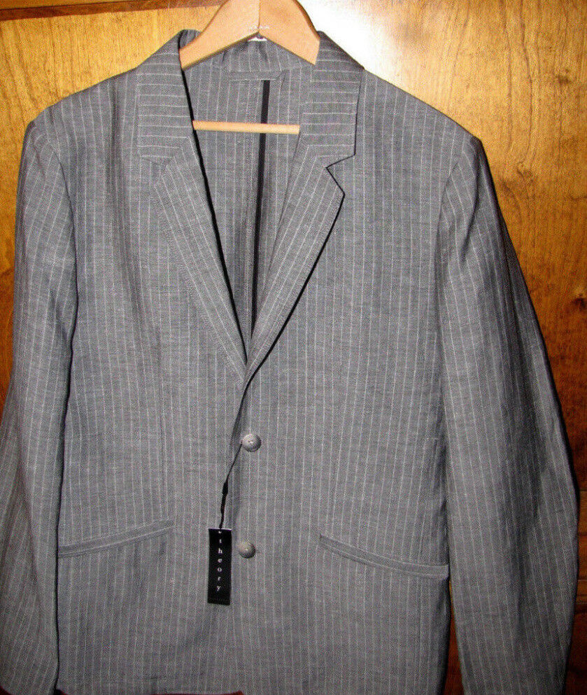 Theory Men Sport Coat Krieg 42 Charcoal Stripe Brand New with Tags Retail 475