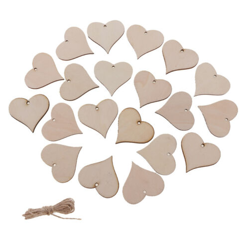 20Pcs Wooden MDF Shapes Hearts Bunting Crafts Embellishments for Decoration