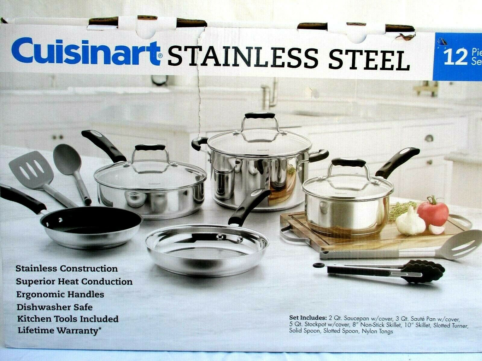 CUISINART... professionnel... 12-PC... Inoxydable... Cookware... Pan... Ensemble... NEW IN BOX