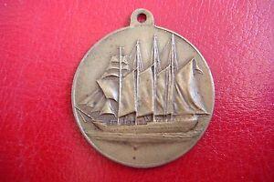 RARE-J-Sebastian-Elcano-ANTIQUE-SPAIN-NAVY-SHIP-SCHOOL-BRONZE-Medal