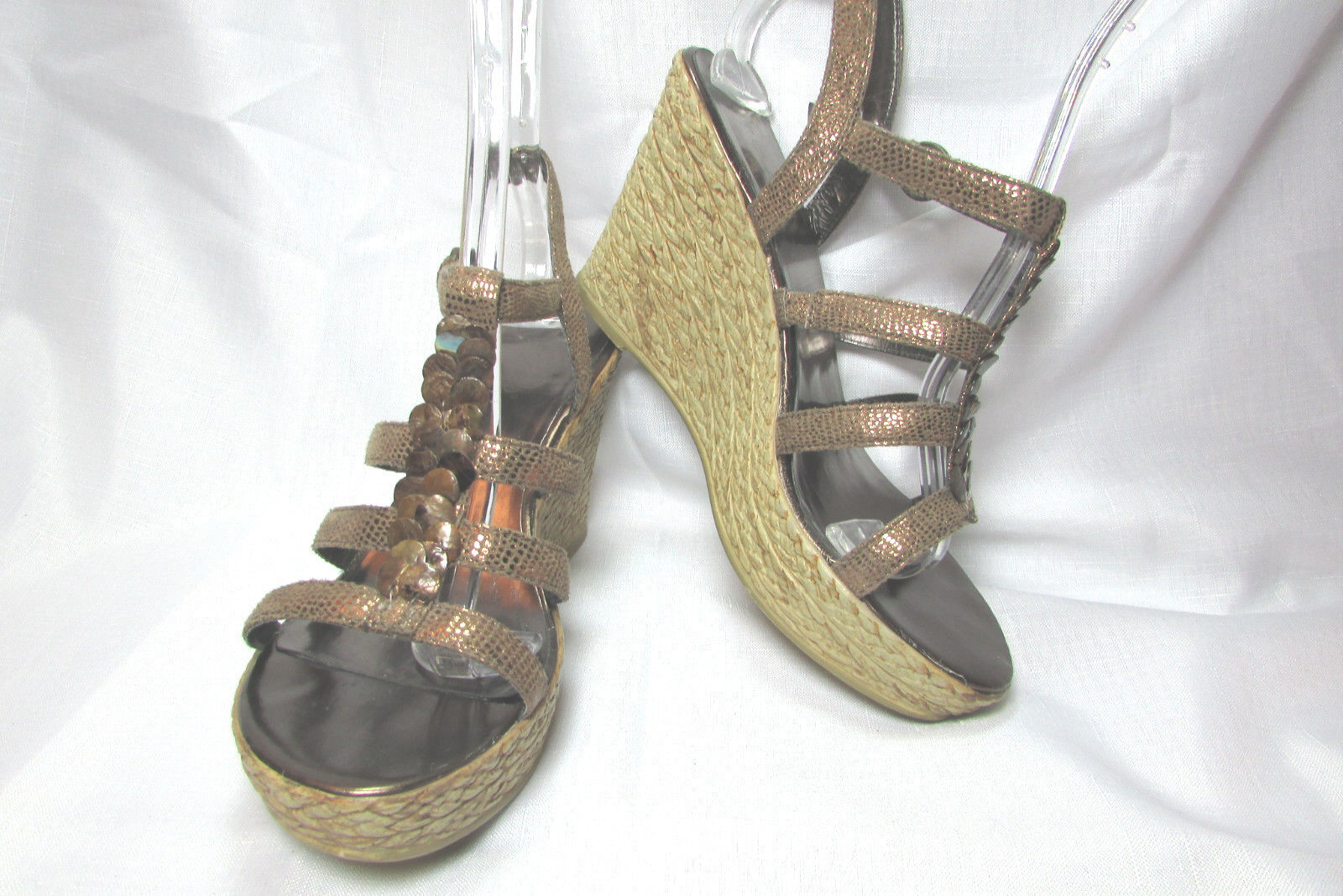 Pesaro Brown Bronze Croc Size Strappy Wedge Espadrilles High Heel Sandals Size Croc US 9 M 2a1ed8