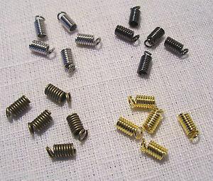 Lot 20 EMBOUTS RESSORTS DORE ATTACHE CORDON 4mm x 8mm  SERRE FIL CORDON LACET
