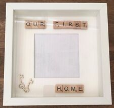 *OUR FIRST HOME* HANDMADE PERSONALISED SCRABBLE TILES/ART PHOTOFRAME