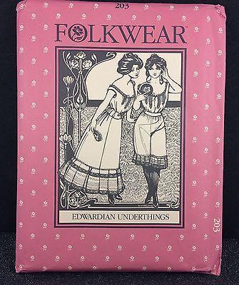 Edwardian Underthings Folkwear Pattern 203 Uncut 6-16 Petticoat Camisole Drawers