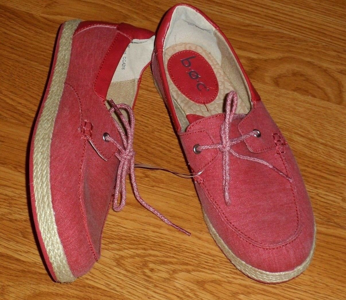 B.O.C. WOMEN'S SHOES CANVAS LOAFERS SIZE 7 - 9  RED GRAY SLIP ON NWT