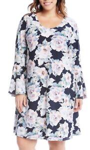 NEW-Karen-Kane-Plus-Flowers-Liquid-Knit-Flare-Sleeves-Lined-Dress-2X-Retail-144