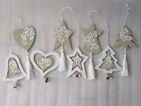 Beige Cream Wooden Christmas Tree Room Hanger Decoration Angel Heart Star Bell