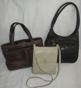 Lot of 3 Fossil Vintage Leather Shoulder Bags Purses Totes Sold AS ... 15662d6f889cd