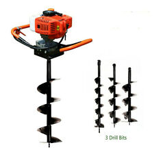 52cc 2 Stroke Earth Auger Borer Gas Fence Powered Post Hole Digger 3 Drill Bits