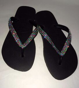 d09166967b4c4d Image is loading Crystal-flip-flops-Havaianas-made-with-SWAROVSKI-Elements-