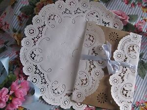Details About 25 Pc 10 WHITE PAPER PRINCESS FRENCH LACE ROUND DOILIES WEDDING INVITE HEARTS