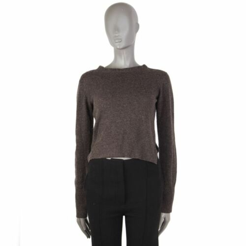 Cropped Cashmere 55592 amp; Wool M Back Open Auth Taupe Sweater 42 Prada WqqwAXY