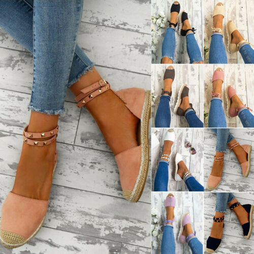 Laides Flat Heel Rivet Sandles Beach Summer Loafer Espadrilles Ankle Strap Shoes