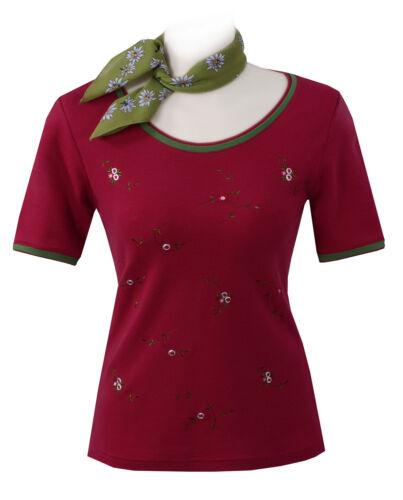 Trachtenshirt Trachten T-Shirt Damen Premium Qualität Rot-Grün