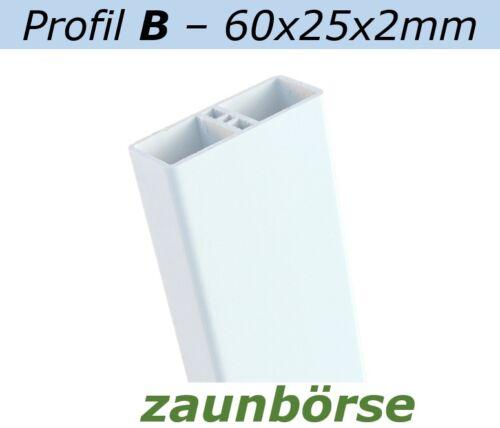 weiss L=198cm Profiware Kunststoffzäune Staketenzaun 60x25x2mm Zaunlatten B