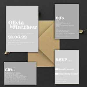 WEDDING-INVITATIONS-Personalised-Retro-70-039-s-Shades-of-grey-PACK-OF-10