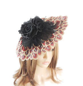 Image is loading Black-amp-Red-Fascinator-Hat-For-Weddings-Ascot- 3dfead8a59dd