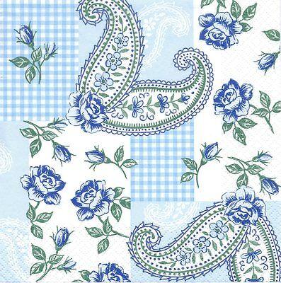 Serviettes en papier Décor Motifs Cachemire -  Paper Napkins Romantic Paisley