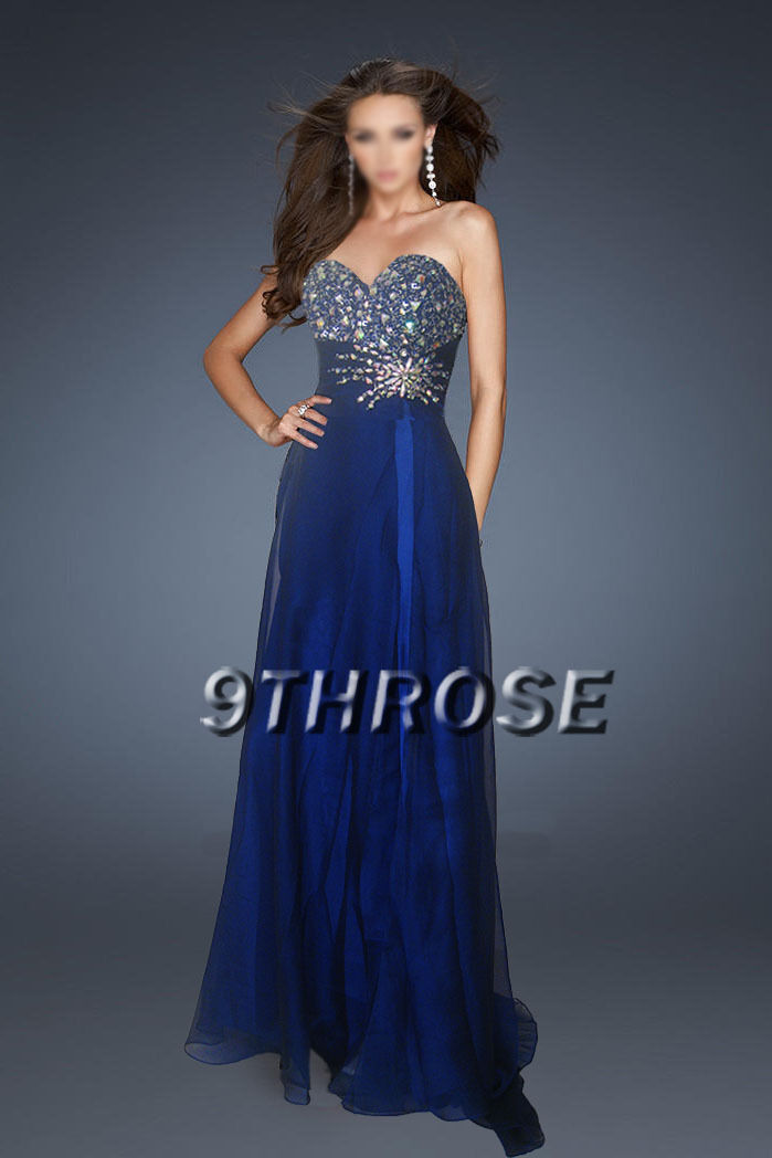 GLAM UP TO IMPRESS  BEADED FORMAL EVENING PROM BRIDESMAID DRESS blueE L AU14 US12