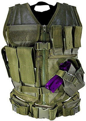 Tactical PVC Vest Military Special Forces Swat Police Hunting Airsoft *OD GREEN*