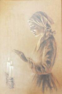 Rare Signed Woman Shabbat Shabbos Candles Judaica Jewish Israel Hebrew Art Print